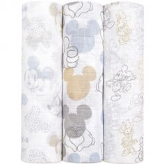 Lot de 3 maxi langes Mickey + Minnie (120 x 120 cm)