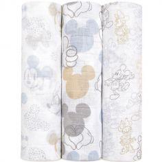 Lot de 3 maxi langes Mickey + Minnie (120 x 120 cm)