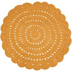 Tapis lavable rond Alma crochet mangue (120 cm)