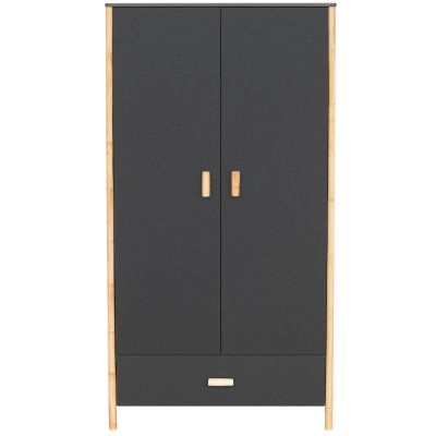 Armoire 2 portes + 1 tiroir Océane gris ardoise  par Théo