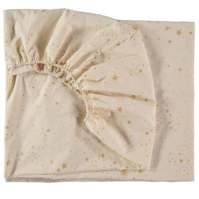 Drap housse Tibet Gold stella blanc (90 x 200 cm)  par Nobodinoz