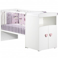 Pack trio lit bébé combiné évolutif et tiroir New Basic boutons coeurs roses (60 x 120 cm)