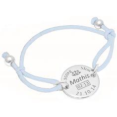 Bracelet cordon bleu clair médaille de naissance (argent 925° rhodié)