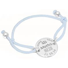 Bracelet cordon élastique bleu clair avec médaille de naissance et boules (argent 925° rhodié)