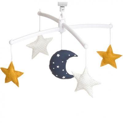 Mobile musical Lune moutarde (mélodie au choix)