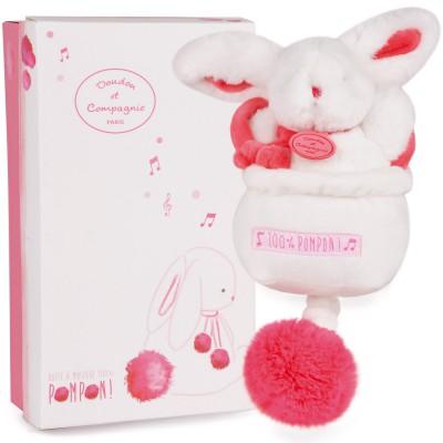 Boîte à musique Lapin pompon fraise (21 cm) Doudou et Compagnie