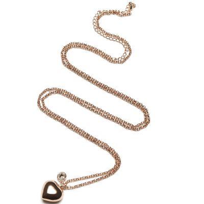 Bola sur chaîne Jasseron coeur (métal rose doré)