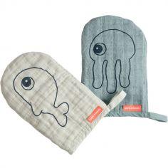 Lot de 2 gants de toilette Sea Friends bleu