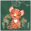 Plaque de porte carrée Les Animignons Le léopard (personnalisable) - Kanzilue