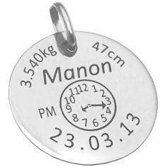 Médaille de naissance personnalisable (argent 925°)