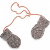 Moufles Fernand tricotées main gris et rose (12-24 mois : 74 à 86 cm) - Mamy Factory