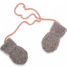 Moufles Fernand tricotées main gris et rose (12-24 mois : 74 à 86 cm)