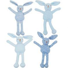 Lot de 4 hochets uniques lapin bleu (12 cm)