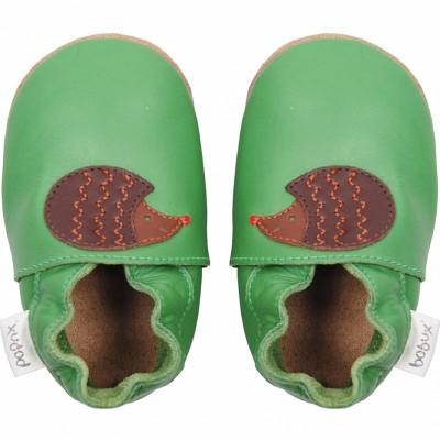 Chaussons en cuir Soft soles hérisson vert (15-21 mois)  par Bobux