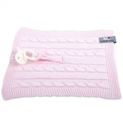 Attache sucette Cable Uni rose  par Baby's Only