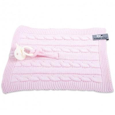 Attache sucette Cable Uni rose  par Baby's Only