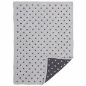 Couverture jacquard Poudre d'étoiles gris foncé et clair (75 x 100 cm) - Noukie's