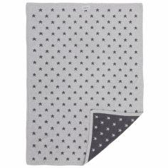 Couverture jacquard Poudre d'étoiles gris foncé et clair (75 x 100 cm)