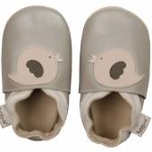 Chaussons en cuir Soft soles oiseau beige (9-15 mois) - Bobux