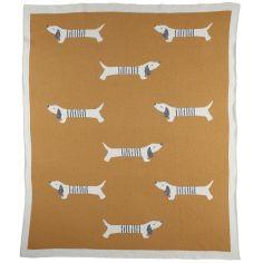 Couverture en coton bio Aston & Jack miel doré (75 x 100 cm)