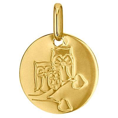 Médaille ronde Chouette 14 mm (or jaune 750°)  par Premiers Bijoux