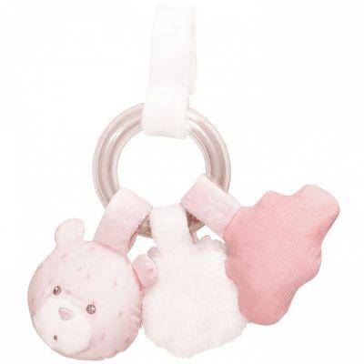Hochet anneau à billes ours Lily poudrée  par Sauthon