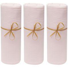 Lot de 3 draps housses en coton bio rose poudré (70 x 140 cm)