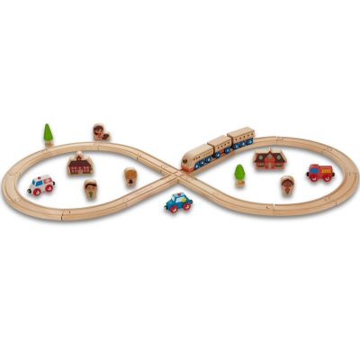 Set de train en bois - circuit forme 8 EverEarth