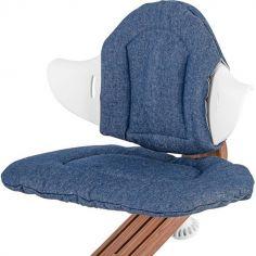 Coussin réversible pour chaise haute évolutive NOMI Denim et rayures