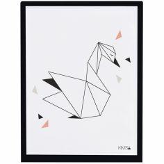 Affiche encadrée géométrique cygne Origami play by Claudia Soria (30 x 40 cm)