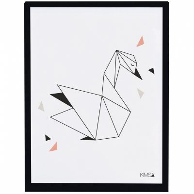 Affiche encadrée géométrique cygne Origami play by Claudia Soria (30 x 40 cm)  par Lilipinso