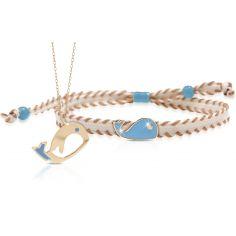 Duo maman enfant Primegioie collier et bracelet Baleine (or jaune 375°)