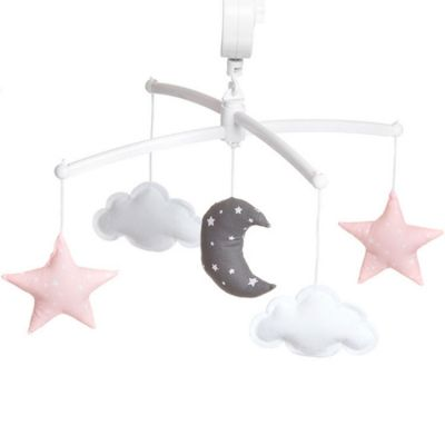 Mobile musical Lune rose et gris (mélodie au choix)  par Pouce et Lina