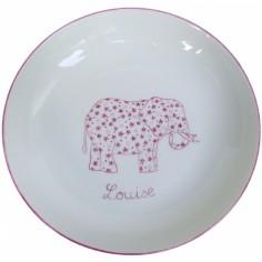 Assiette creuse Elephant rose personnalisable