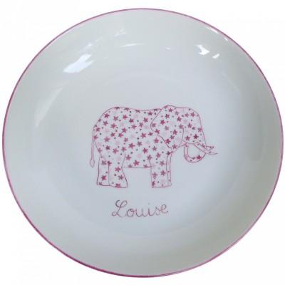 Assiette creuse Elephant rose personnalisable  par Laetitia Socirat
