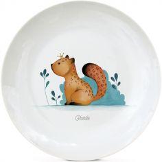 Assiette en porcelaine Léopard (personnalisable)