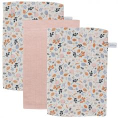 Lot de 3 gants de toilette Pure pink et Spring flowers