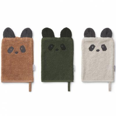 Lot de 3 gants de toilette Sylvester Panda mix  par Liewood