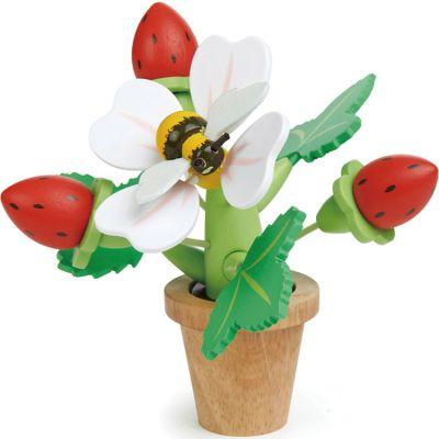 Pot de fleur avec fraises en bois