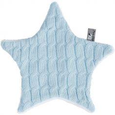 Doudou plat étoile Cable Uni bleu ciel (30 cm)