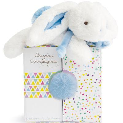 Coffret peluche lapin Coucou Coffret doudou bleu pastel (20 cm)  par Doudou et Compagnie