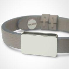 Bracelet cuir Hip-Hop Gris (or blanc 750° et cuir)