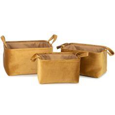 Lot de 3 paniers de toilette Billie doré (26 x 38 x 22 cm)