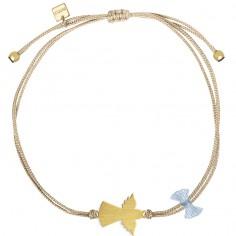Bracelet cordon beige Spirit ange (vermeil doré)