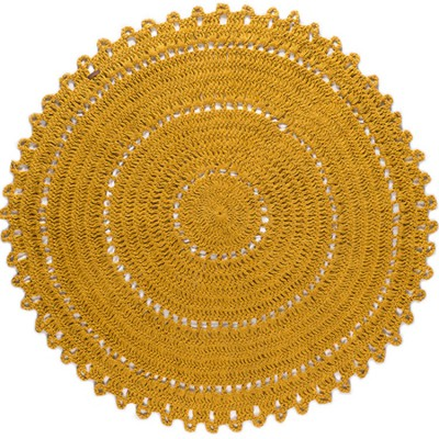 Tapis Rond Gypsy Coton Jaune 120 Cm Varanassi