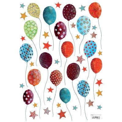 Stickers A3 royal circus ballons et étoiles by Manuela Magni (29,7 x 42 cm)  par Lilipinso