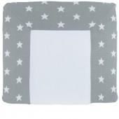 Housse de matelas à langer XL Star gris et blanc (75 x 85 cm) - Baby's Only