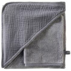 Cape de bain + gant en bambou gris foncé blush Mix & Match (70 x 70 cm)