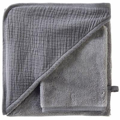 Cape de bain + gant en bambou gris foncé blush Mix & Match (70 x 70 cm)  par BB & Co