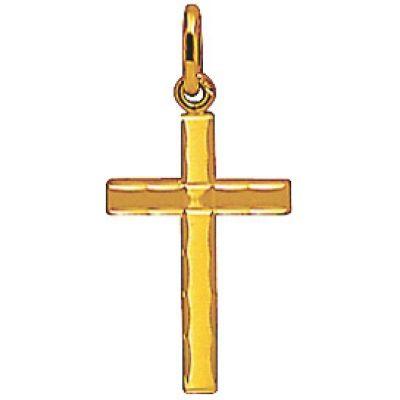 Croix 16 x 11 mm satinée diamantée (or jaune 750°)  par A.Augis
